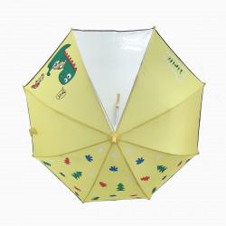 Детский зонтик с прозрачным окошком, желтый. Динозавр и машины.