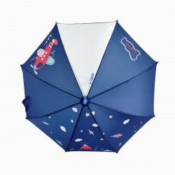 Детский зонтик с прозрачным окошком, синий. Самолетик.
