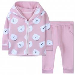 Утепленный костюм 2 в 1 для девочки, розовый. Милые мишки.
