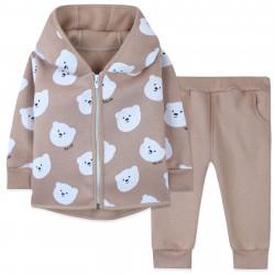 Утепленный костюм 2 в 1 детский, бежевый. Милые мишки.