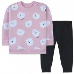 Утепленный костюм 2 в 1 для девочки, розовый. Полярные мишки.