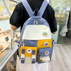 Детский рюкзак, школьный, желтый. Мишка и значки.