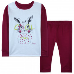 Пижама для девочки, бордовая. Супер зайчик.