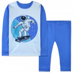 Пижама для мальчика, синяя. Космонавт на скейте.