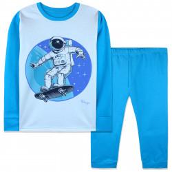 Пижама для мальчика, голубая. Космонавт на скейте.