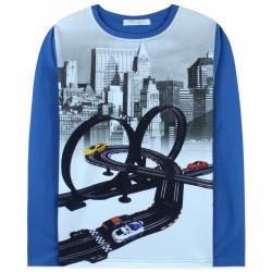Кофта для мальчика, реглан, синяя. Город и эстакада.