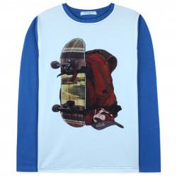 Кофта для мальчика, реглан, синяя. Скейт и рюкзак.