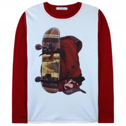 Кофта для мальчика, реглан, красная. Скейт и рюкзак.