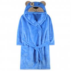 Халат махровый, банный, голубой. Мишка.