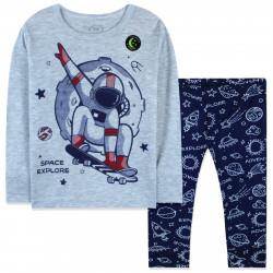 Пижама для мальчика, серая. Космонавт на скейте. Светится в темноте!