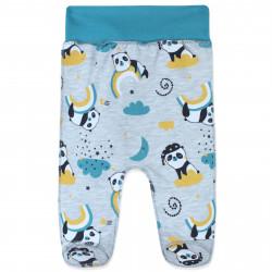 Ползунки с начесом для малышей, серые. Малыши панды.