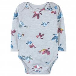 Боди для малышей, бежевый. Разноцветные птички.