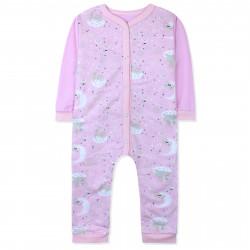 Комбинезон с начесом для девочки, слип для сна, розовый. Спящие единороги.