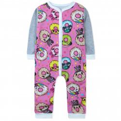 Комбинезон с начесом для девочки, слип для сна, розовый. Стильные пончики.