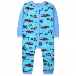 Комбинезон с начесом для мальчика, слип для сна, голубой. Машины и вертолеты.