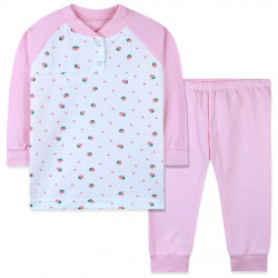 Пижама для девочки, розовая. Маленькая клубничка.