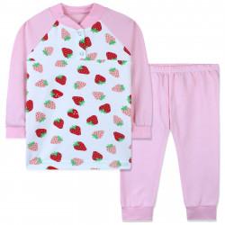 Пижама для девочки, розовая. Крупная клубничка.