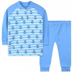 Пижама для мальчика, голубая. Якоря.