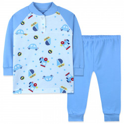 Пижама для мальчика, голубая. Машинки, кораблики и поезда.