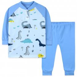 Пижама для мальчика, голубая. Нарисованные динозаврики.