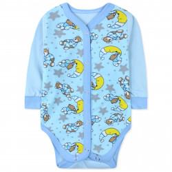 Боди с начесом для малышей, голубой. Мишки и месяц.