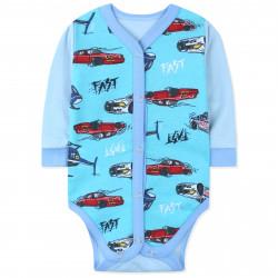 Боди с начесом для мальчика, голубой. Машины и вертолеты.