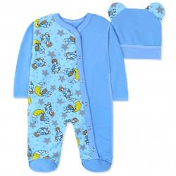 Человечек с начесом с шапочкой для малышей, голубой. Мишки и месяц.