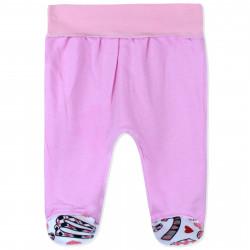 Ползунки с начесом для девочки, розовый. Буквы и сердца.