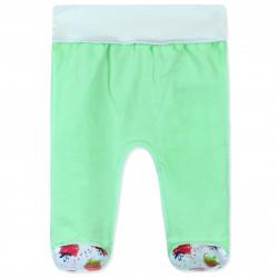 Ползунки с начесом для малышей, зеленые. Акварельная клубника.