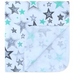 Пеленка байковая 90*70 см, белая. Разнообразные звезды.