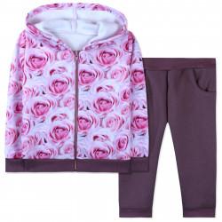 Утепленный костюм для девочки, бордовый. Акварельные цветы.