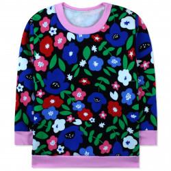 Утепленная кофта для девочки, джемпер, черная. Цветочки и листочки.