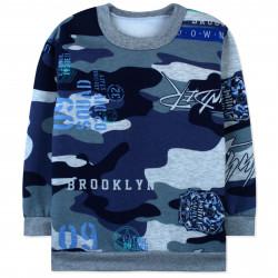 Утепленная кофта для мальчика, джемпер, синий. Милитари и значок.