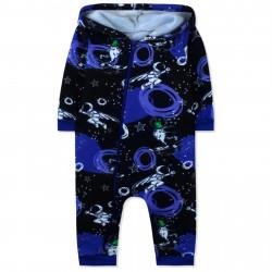 Утепленный комбинезон для мальчика, слип, черный. Космонавт и инопланетянин.
