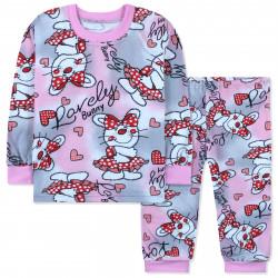 Пижама для девочки, с начесом, розово-серая. Милый зайчик.