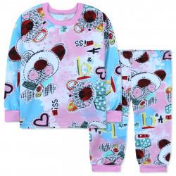 Пижама для девочки, с начесом, розово-голубая. Аппликация с мишкой.