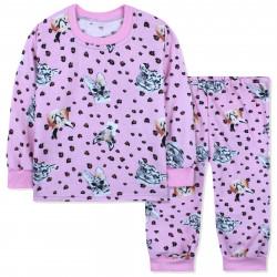 Пижама для девочки, с начесом, розовая. Дикие животные.