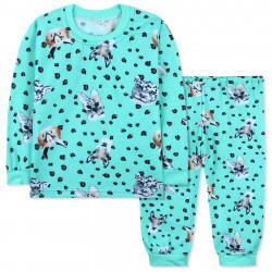 Пижама детская, с начесом, мятная. Дикие животные.