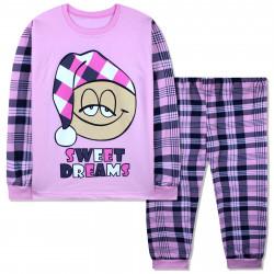 Пижама для девочки, с начесом, розовая. Смайл в шапочке.