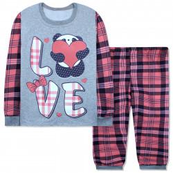 Пижама для девочки, с начесом, серая. Панда с сердечком.