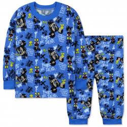 Пижама для мальчика, с начесом, синяя. Бунтарь Микки Маус.