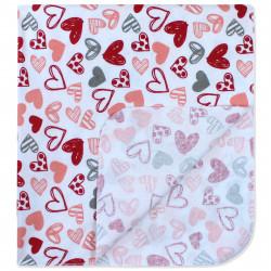 Пеленка байковая 90*70 см, белая. Красные сердечка.