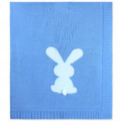 Вязаный плед, детский, голубой. Зайка 90*90