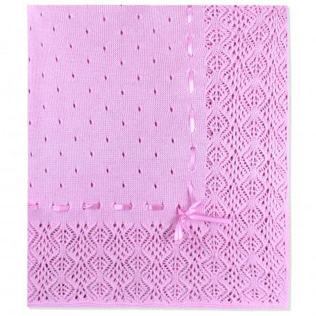 Вязаный плед, с ленточкой. Розовый. 90*90