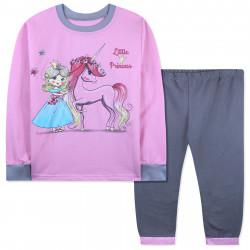 Пижама с начесом для девочки, розовая с серым. Принцесса и единорог.