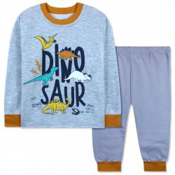 Пижама с начесом для мальчика, серая. Раскопки динозавров.
