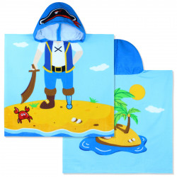 Полотенце-пончо, пончо, голубое. Пират. 60*120 см. Микрофибра.