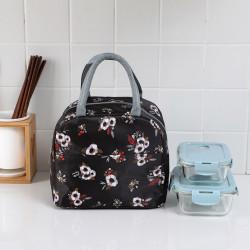 Термосумка, ланч-бокс, сумка для обедов, черная. Цветы.