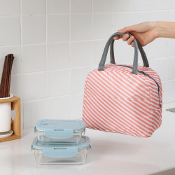 Термосумка, ланч-бокс, сумка для обедов, розовая. Полоски.