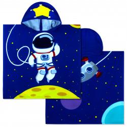 Полотенце-пончо, пончо, темно-синее. Космонавт. 60*120 см. Микрофибра.